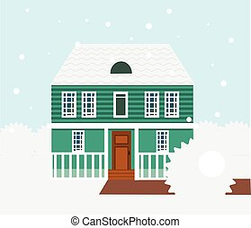 Real estate winter scene. House, cottage, townhouse, sweet home vector illustration with snowfall