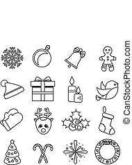 Christmas and new year linear icons. Vector set of winter holidays symbols, outline