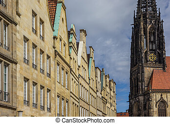 Facades and church tower at the Principal market square in...