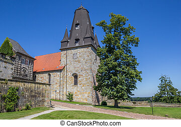 Tower of the hilltop castle in Bad Bentheim, Germany