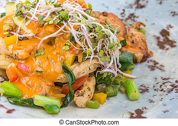 Chicken bombay with vegetables - Chicken bombay with leek,...