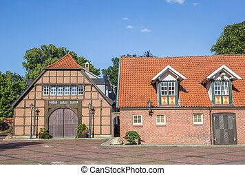 Historical buildings at the square in Haselunne, Germany