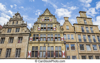 Old houses with blinds in the historical center of Munster,...