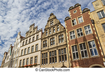Facades of old houses at the Prinzipal market in Munster,...
