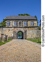 Entrance house of the hilltop castle in Bad Bentheim,...
