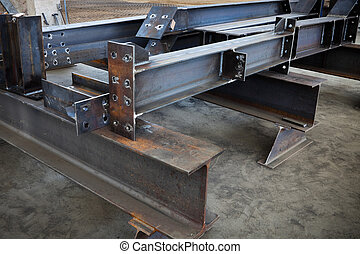 metal beams - new welded metal beams on modern plant