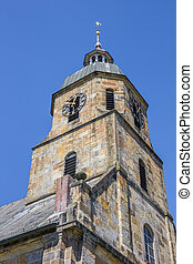 Tower of the Reformed Protestant church of Bad Bentheim,...