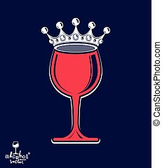 Stylish luxury wineglass with imperial crown isolated on...