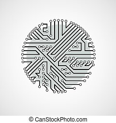 Vector abstract technology illustration with round...