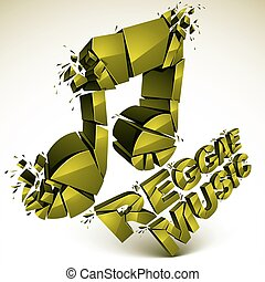 Green 3d vector musical note created from refractions...