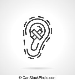 Hear loss simple line vector icon