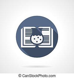 Pharmaceutics book blue round vector icon - White silhouette...