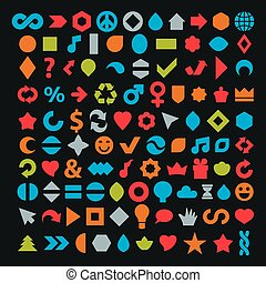 Different colorful flat web icons set made on music, environment, economics and other social themes. Collection of geometric simple business elements can be used in graphic design.