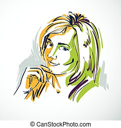 Vector drawing of beautiful tender woman, portrait in...