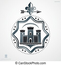 Vintage decorative heraldic vector emblem composed with medieval fortress