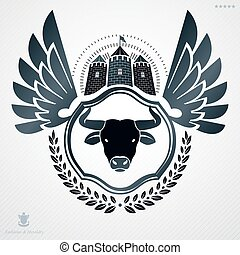 Vintage decorative heraldic vector emblem composed with bull head illustration and medieval stronghold
