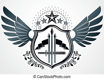 Vector retro insignia design decorated using vintage elements like pentagonal stars and wings