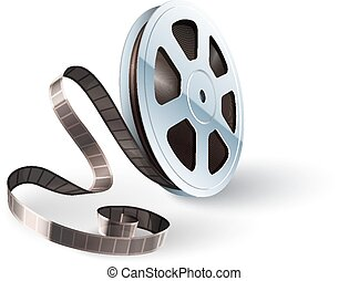 Movie cinematography video film disk with tape isolated for...