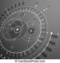 Geometric technology 3d vector drawing, grayscale technical wallpaper. Dimensional abstract scheme of engine or engineering mechanism.