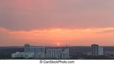 Sun get behind the hills. Yekaterinburg, Russia. Time Lapse....