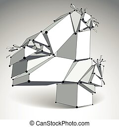 Abstract vector low poly wrecked number 4 with black lines and dots connected. 3d origami futuristic monochrome font with lines mesh.
