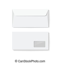 Closed blank envelope template isolated on white background....