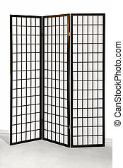 Screen divider - Traditional Japanese style tri fold wooden...