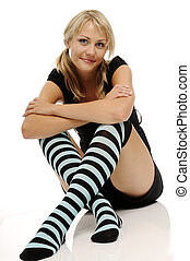 Woman - The beautiful smiling young blonde woman with stripy...
