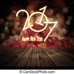3D Happy New Year background with wooden table looking out to a stack of gifts