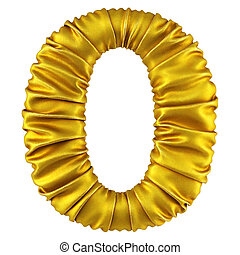 digits made of golden fabric. Isolated on white. 3D...