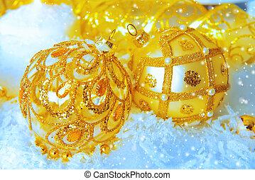 lux xmas - Beautiful Christmas background: golden christmas...