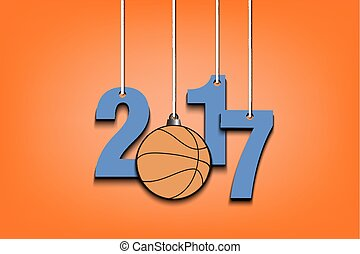 Basketball  and 2017 hanging on strings