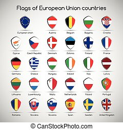 Set the flags of European Union countries, symbol shield for your infographic, vector illustration