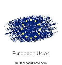 Simple vector European Union flag (EU), grunge flag, vector illustration isolated on white background