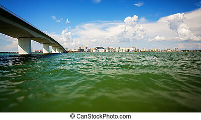 Sarasota, Florida Cityscape Skyline Across Sarasota Bay -...