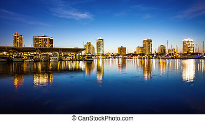 St. Petersburg, Florida Skyline and Marina Cityscape - St....