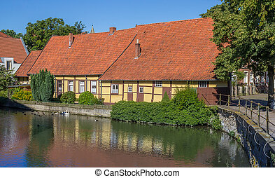 Old houses at a canal in Steinfurt