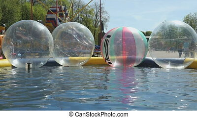 Large inflatable transparent water balls outdoors - Large...