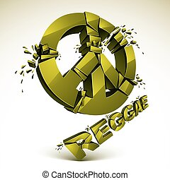 Green 3d vector peace sign created from refractions isolated...