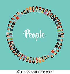 cartoon young people in circle shape over blue background....