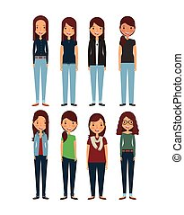 cartoon young womens - cartoon young girls standing and...