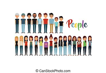 cartoon young people standing and wearing casual clothes....