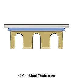 Iron bridge icon, cartoon style - Iron bridge icon. Cartoon...