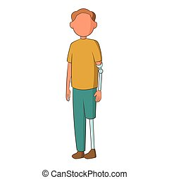 Man with prostheses icon, cartoon style - Man with...