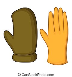 Work gloves icon, cartoon style - Work gloves icon. Cartoon...