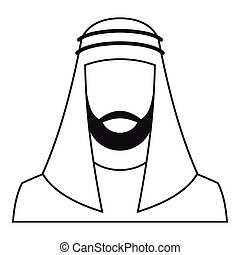 Arabic man in traditional muslim hat icon. Simple...