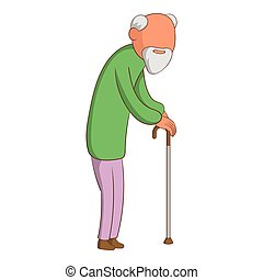 Old man icon, cartoon style - Old man icon. Cartoon...