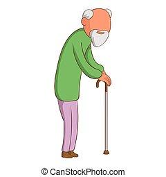 Old man icon, cartoon style - Old man icon. Cartoon...