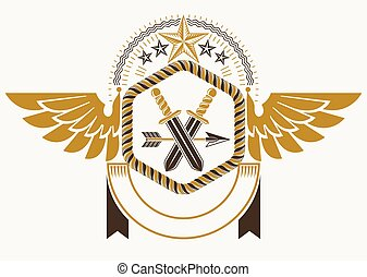 Classy emblem made with eagle wings decoration, armory and stars. Vector heraldic Coat of Arms.