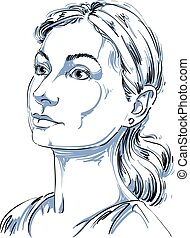 Monochrome vector hand-drawn image, romantic young woman....